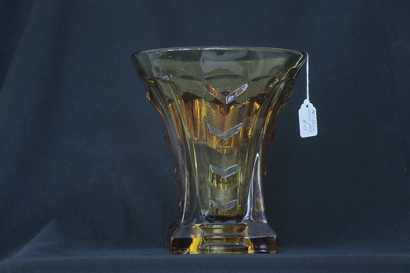 Amber Glass Vase with Frog