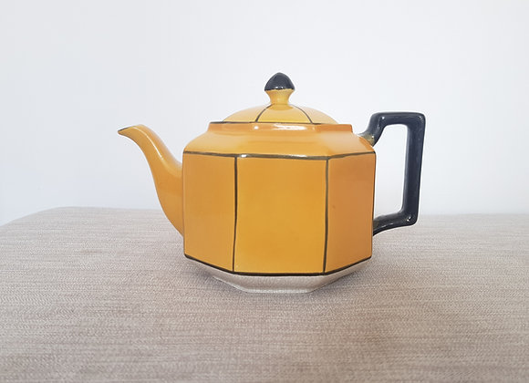 Yellow & Black Octagonal Ceramic Teapot