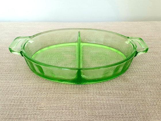 Jeannette Company Uranium Glass Poinsettia Dish