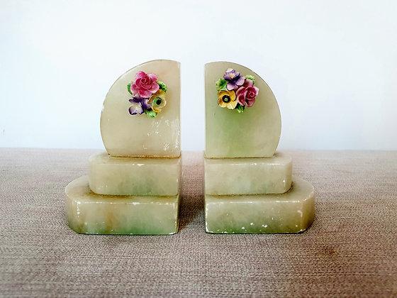 Art Deco Bookends Alabaster Floral 1930s for sale UK