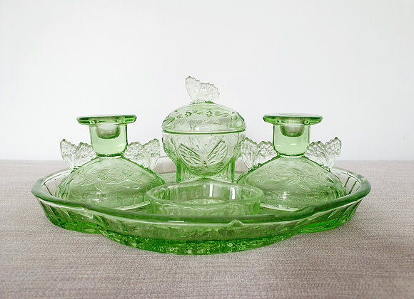 Sowerby Butterfly Green Glass Dressing Table Set