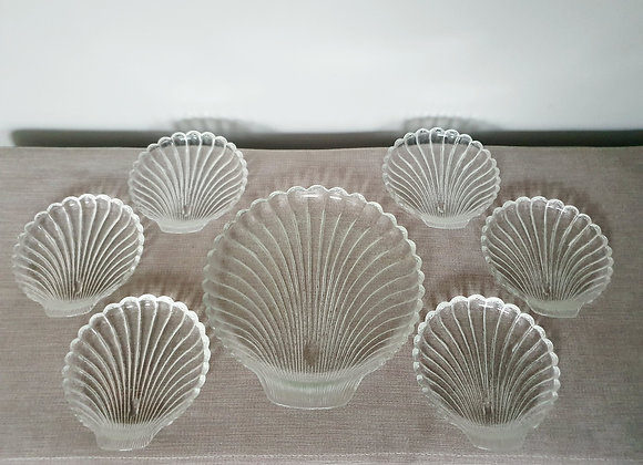 Glass Shell Serving Plate Set