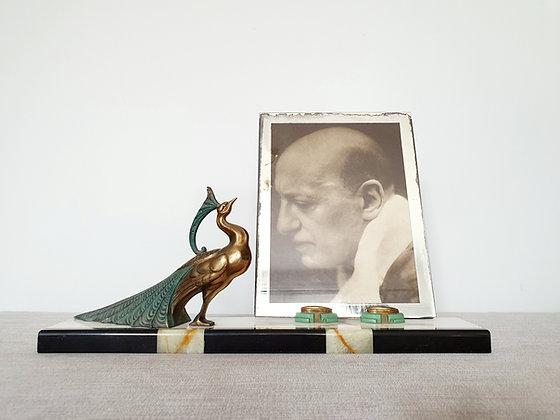 Spelter Peacock Marble Photo Frame