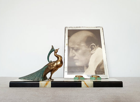 Spelter Peacock Marble Photo Frame