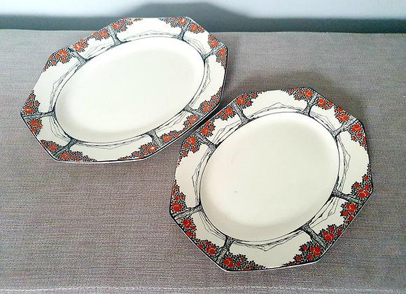 Crown Ducal Orange Tree Set of Two Platters