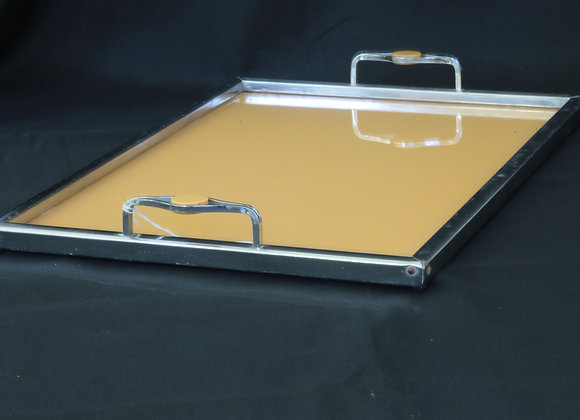 Amber Coloured Glass & Chrome Tray