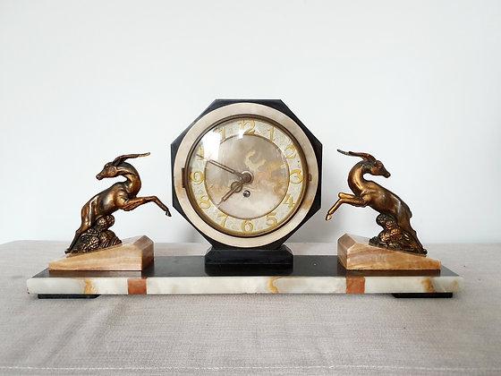 Spelter Gazelle Octagonal Mantel Clock