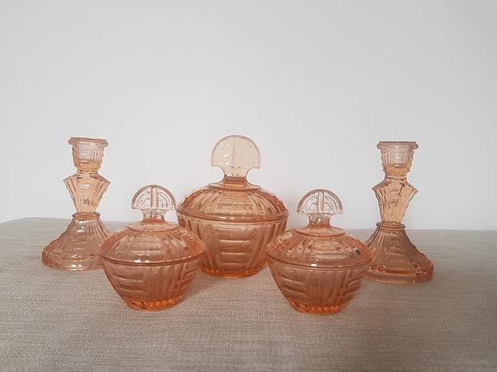 Bagley Rutland Peach Glass Trinket Set