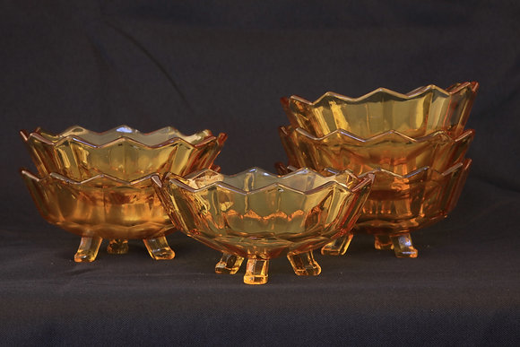 Set of 6 Amber Glass Bowls