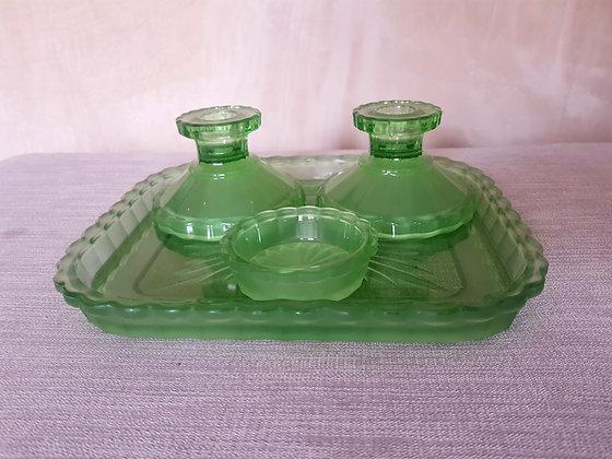 Green Glass Dressing Table Set