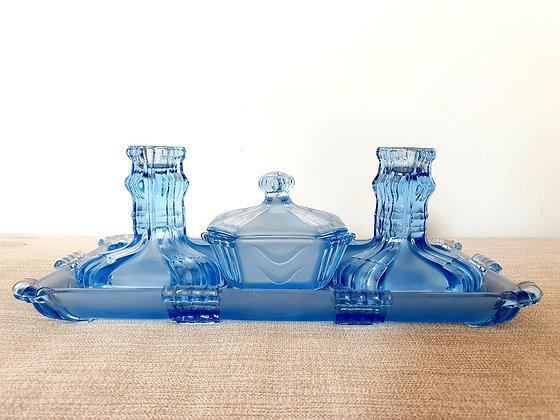 Stölzle Blue Glass Dressing Table Set