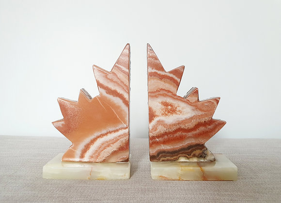 Maple Leaf Agate & Marble Bookends