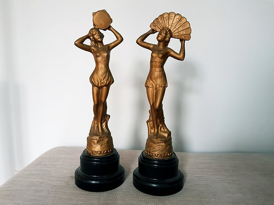 Pair of Gilded Spelter Lady Figures