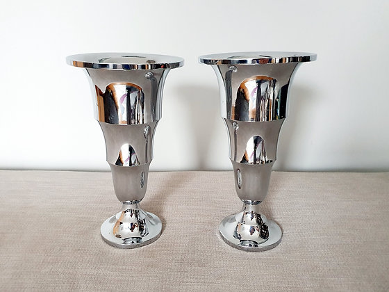 Pair of Chrome Tiered Vases