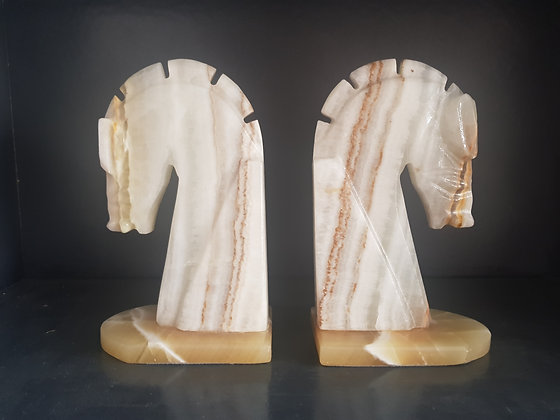 Large Alabaster Horse Head Bookends