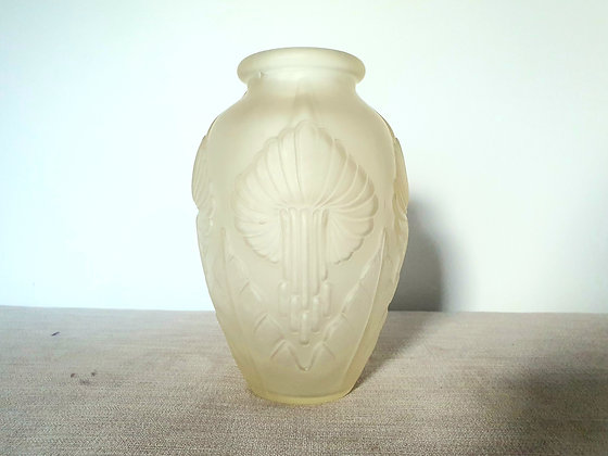 Art Deco Frosted Glass Vase 1930s for sale UK