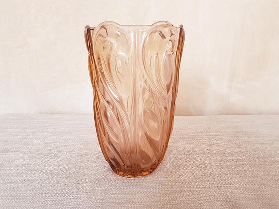Peach Glass Celery Vase