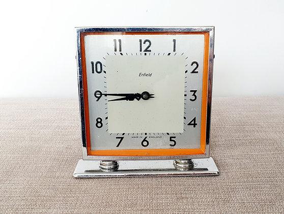 Chrome with Orange Enamel Clock