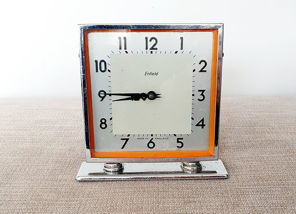 Chrome with Orange Enamel Clock