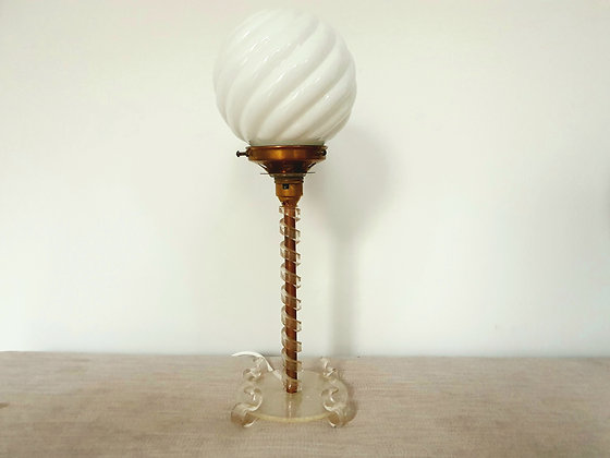 Lucite Lamp with Swirl Glass Shade