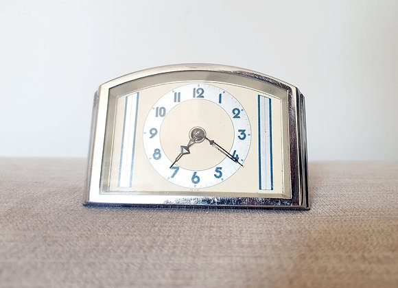 Chrome Desk Clock with Blue Enamel