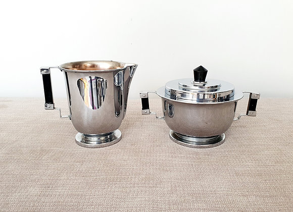 Chrome Plated Milk Jug & Sugar Bowl