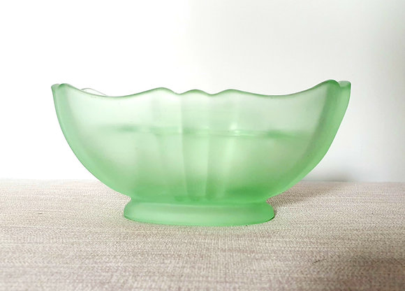 Bagley Bristol Frosted Green Glass Vase