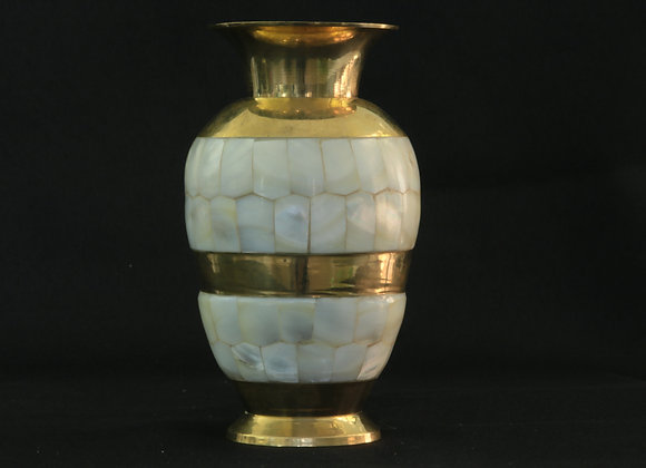 Mother of Pearl & Brass Vase