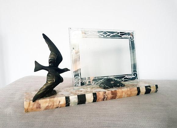 Spelter Seagull Marble Photo Frame