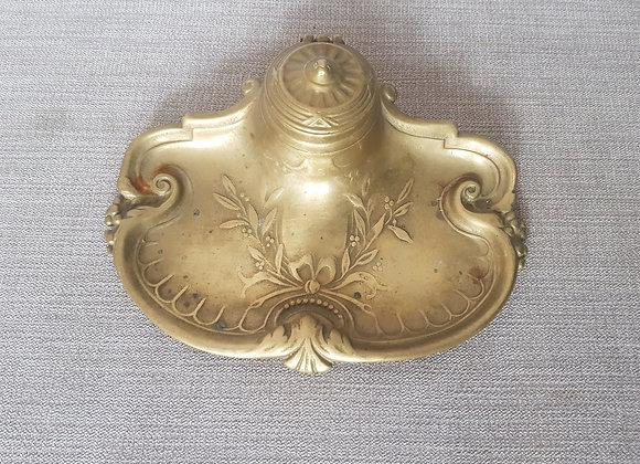 Brass Art Nouveau Inkwell Tray