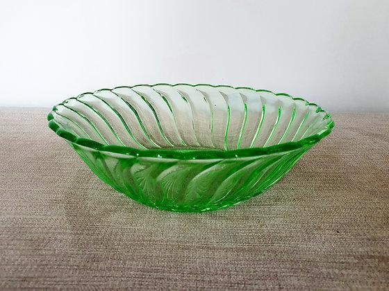 Art Deco Uranium Glass Bowl Bagley Carnival 1930s for sale UK