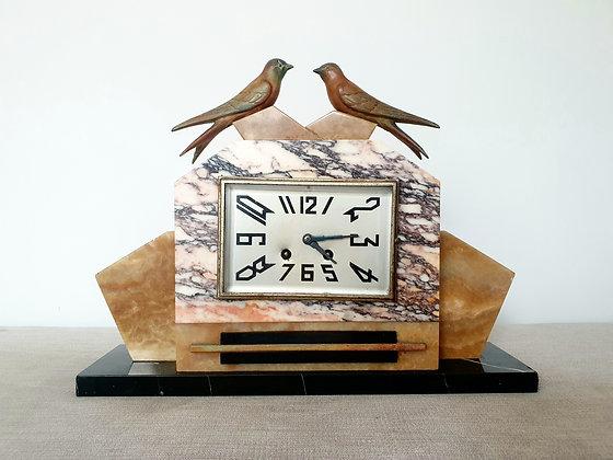 Swallows Marble Mantel Clock