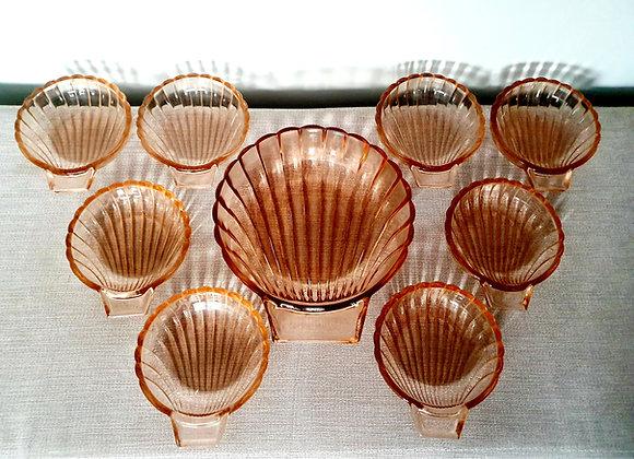 Peach Glass Shell Dessert Bowl Set