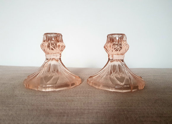 Pair of Pink Glass Candlestick Holders