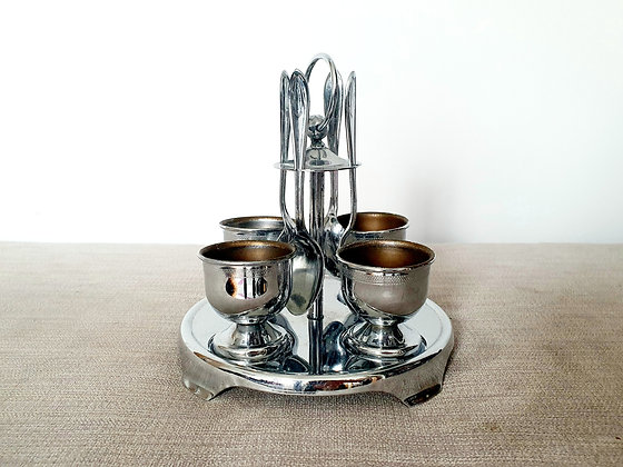 Art Deco Chrome Plated Egg Cups and Spoons 1930s Vintage Breakfast for sale UK