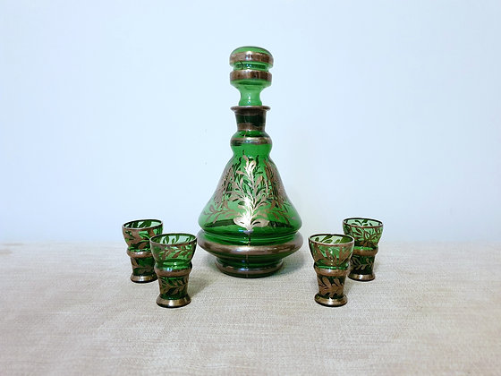 Czech Green & Silver Glass Decanter Set