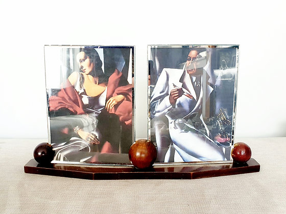 Large Double Wooden Spheres Photo Frame