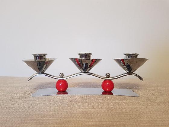 Chrome Triple Candlestick Holder