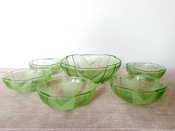 Sowerby Green Glass Dessert Set