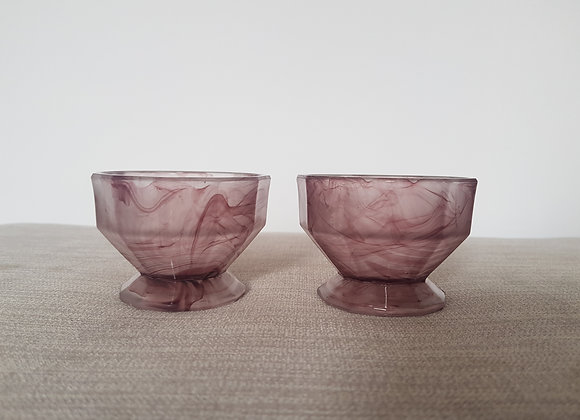 Davidson Pair of Amethyst Cloud Glass Bowls