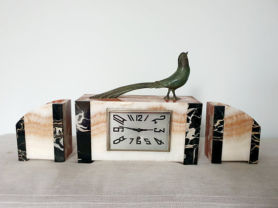 Pheasant Marble Clock Garniture