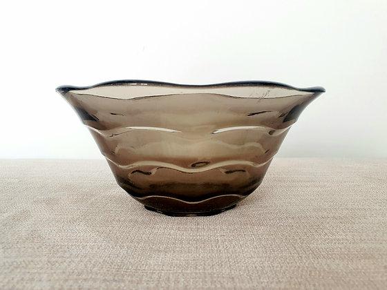 Davidson Smoked Glass Ripple Bowl