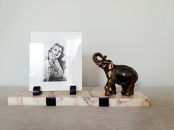 Spelter Elephant Marble Photo Frame