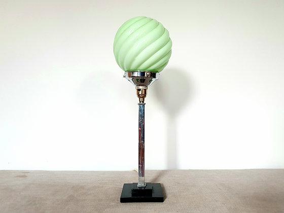 Chrome Lamp with Green Swirled Shade