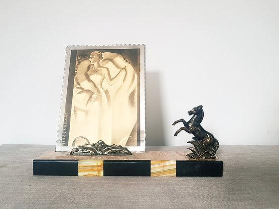 Spelter Horse Marble Photo Frame