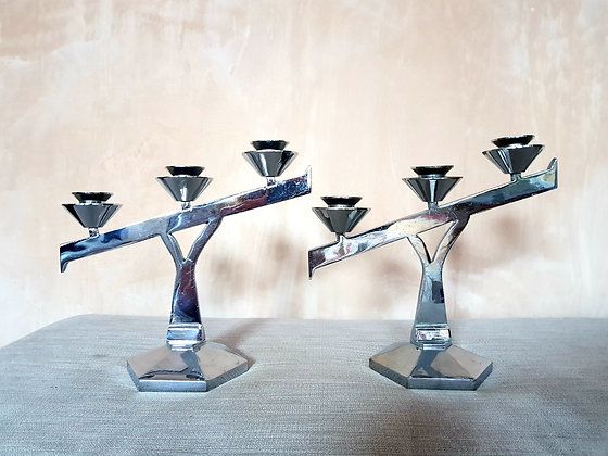 Pair of Chrome Triple Candlestick Holders