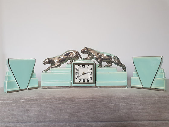 Odyv Clock Garniture with Panthers