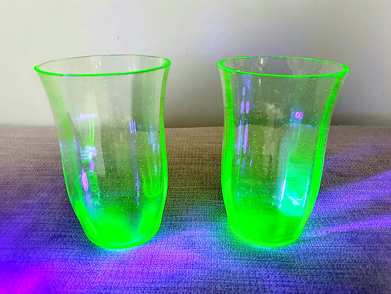 Pair of Uranium Glass Vases