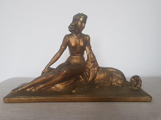 Gilt Lady with Borzoi Statue