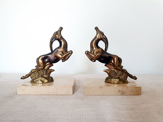 Art Deco Leaping Gazelle Bookends
